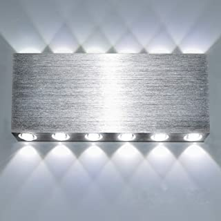 Lightess Modern LED Wall Light Fixture Silver 24W Square Indoor Up Down Wall Sconce Hallway Theater Decorative Lighting, Cool White