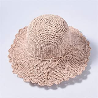 SHENTIANWEI Big Straw hat Spring and Summer hat Ladies Travel Sunscreen Visor Korean Version of The Wild Straw hat (Color : Light Powder)