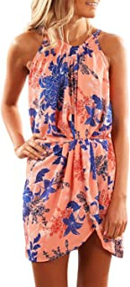 Asvivid Womens Summer Halter Neck Floral Print Sleeveless...
