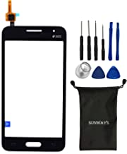 sunways Glass Lens Screen with Touch Digitizer Replacement for Samsung Galaxy Core 2 g355 G355h(Black) with Device Opening Tools