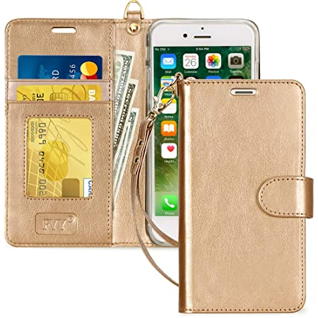 FYY Case for iPhone 7/8/SE 2020, Luxury PU Leather Wallet Phone Case with Card Holder Flip Cover for iPhone 7/iPhone 8/iPhone SE 2020 (2nd Gen) 4.7 inch - Gold