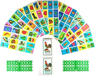 Loteria Mexicana Board Game Kit - Loteria Mexicana Bingo Game for 20 Players - Includes 2 Deck of Cards and Boards - With Free Markers - For the Entire Family - Great for Learning Spanish.