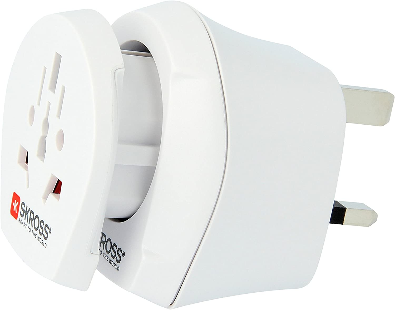 Adaptador de Viaje para pa/íses Que utilizan el est/ándar Brit/ánico Blanco Skross 73641