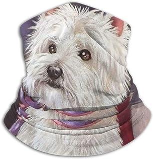 West Highland Terrier Dog American Flag Unisex Adult Neck Gaiter Warmer Windproof Mask Dust Sports Face Mask Half Balaclav...