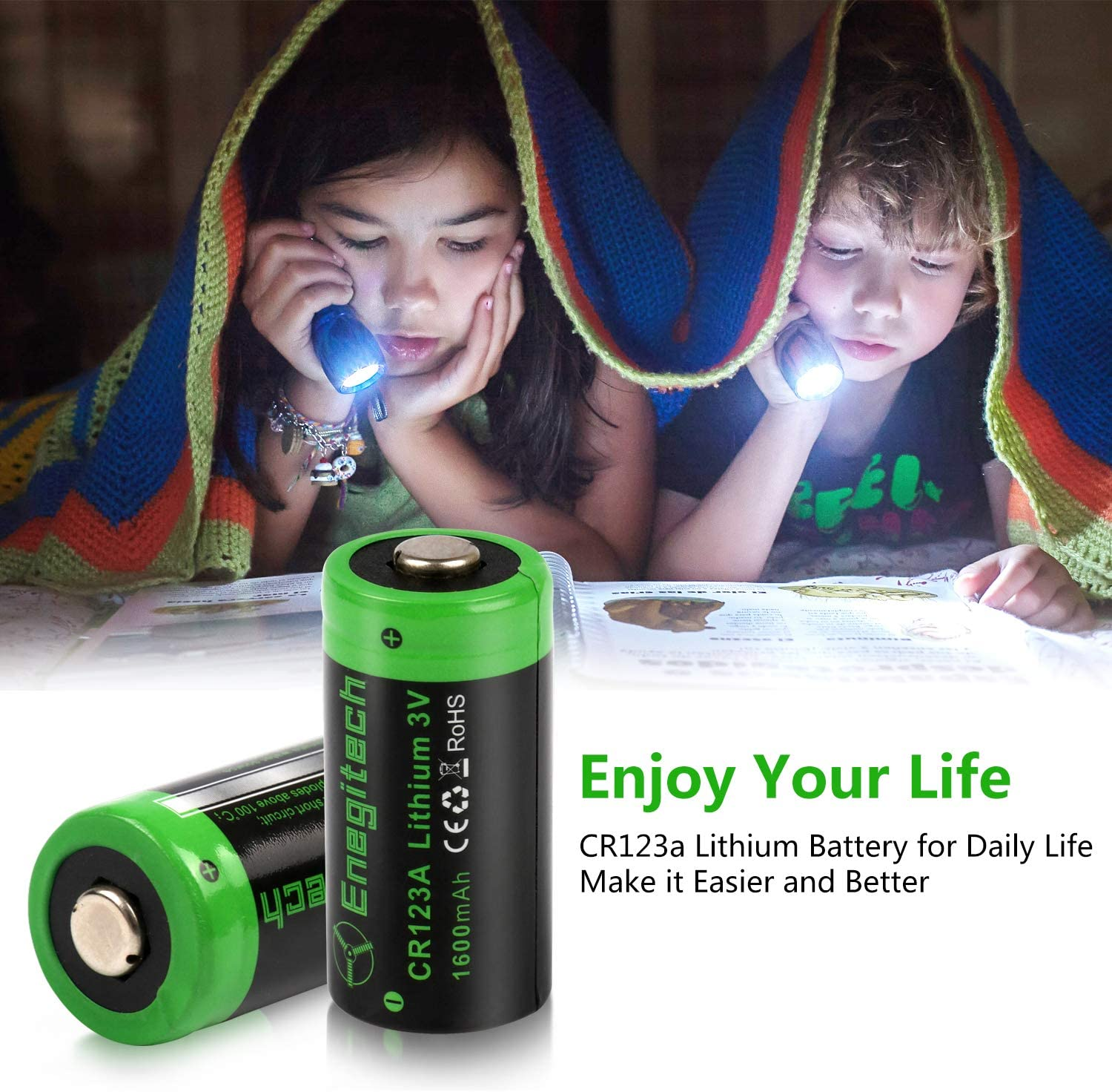 CR123A 3V Lithium Battery Enegitech Upgrade 1600mAh 12Pack CR123A Batteries Non-Rechargeable with PTC Protection for Photo Camera Flashlight Torch Microphones