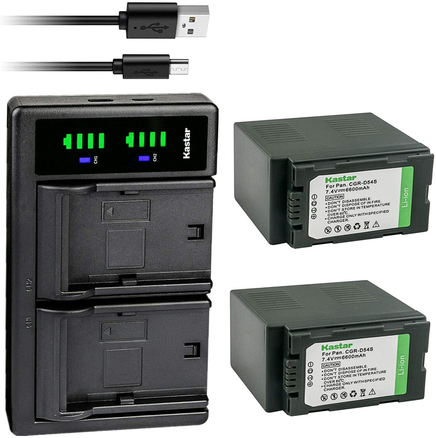 Kastar 2-Pack CGA-D54 Inventory cleanup selling sale online shopping Battery and USB Charger f Replacement LTD2