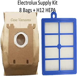 8 Electrolux Type S Bags + 1 H12 HEPA Filter fits All Electrolux Oxygen - Harmony - Jetmaxx - Ultra Silencer Canister Vacuum Cleaner One Year Supply Bundle Kit, Also fits Eureka OX + HF-1