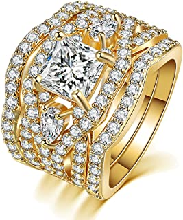 Luxurious Synthetic Diamond 18K Gold Plated Base Rings Set for Women Great idea Gifts for Women Grils