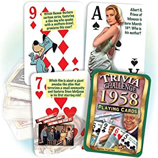 1958 Trivia Playing Cards: 61st Birthday or 61st