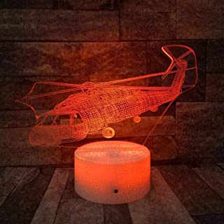 YYZBJAOZ 3D سيمفوني ليد سبعة ألوان متغيرة ضوء ليلي خفيف مناسب لطائرات هليكوبتر للأطفال