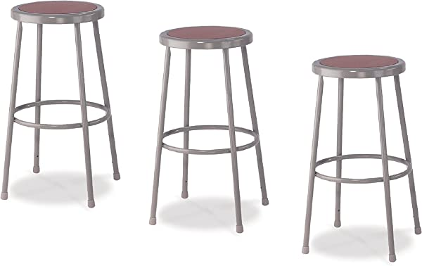 National Public Seating 6230 CN Steel Stool With 30 Hardboard Seat Grey Pack Of 3
