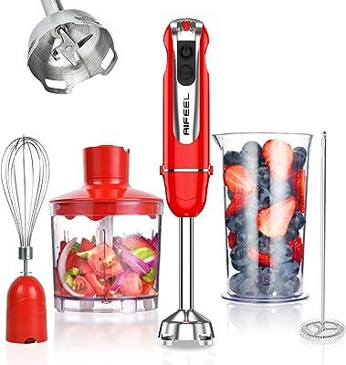 800w Immersion Hand Blender, 5-in-1 Stick Blender , 500ml Food Grinder/Chopper, 600ml Container,Milk Frother,Egg Whisk