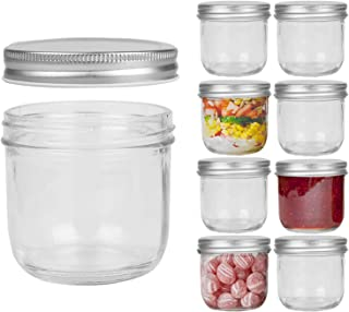 FRUITEAM 8 oz Wide Mouth Mason Jars with Silver Metal Airtight Lids -Set of 8, Transparent Glass Canning Jar Ideal for Jam...