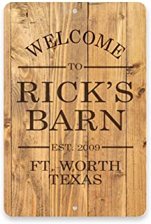Personalized Rustic Wood Plank Welcome to the Barn Metal Room Sign