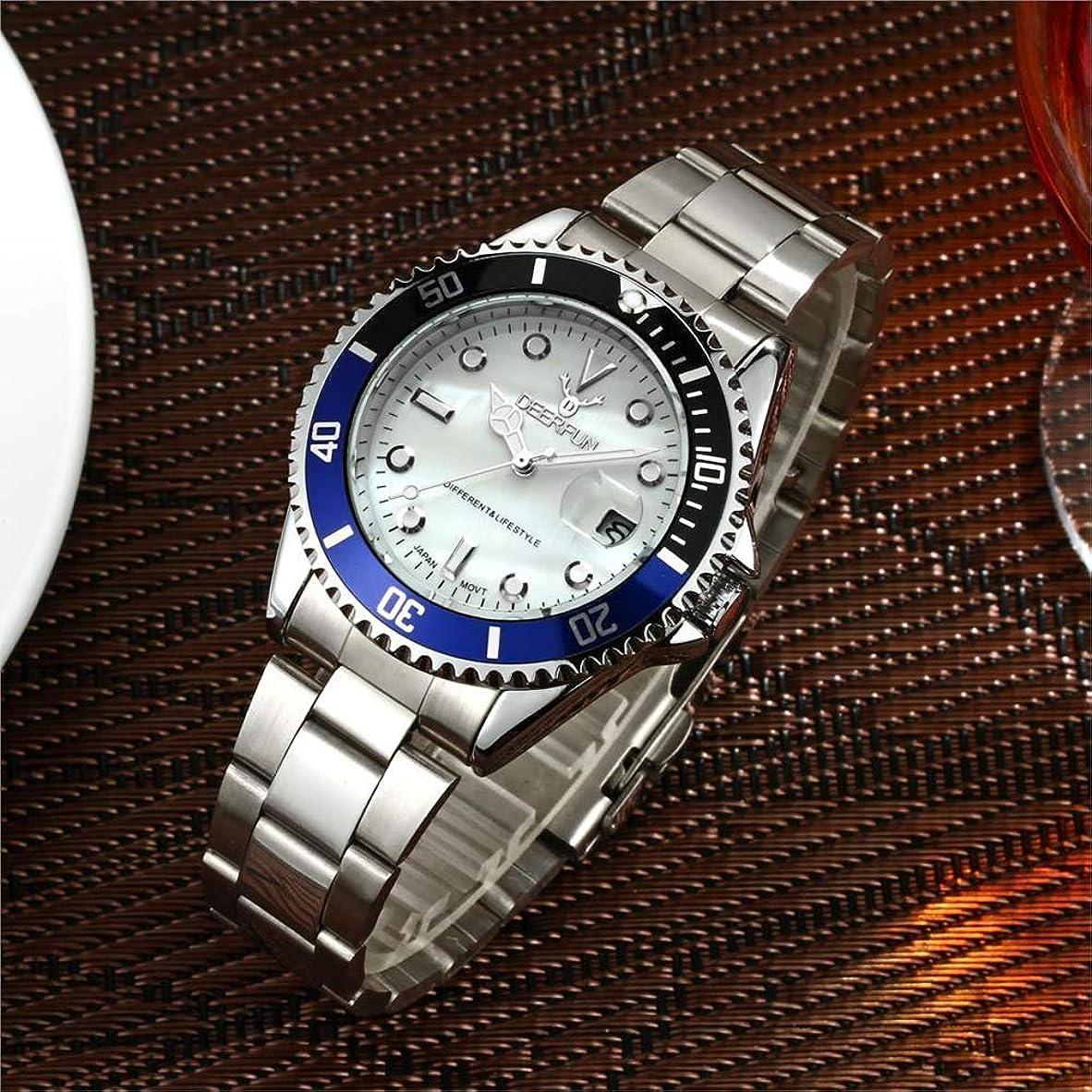 こどもセンター役に立つ意気消沈した防水腕時計メンズ高級ブランドカジュアルステンレススチールスポーツ腕時計クォーツ腕時計メンズ腕時計 (E)