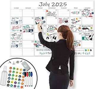 "X Large Dry Erase Wall Calendar - 24""x 36"" Premium Giant Oversized Undated Erasable Deadline Task Calendar for 2020 - Jumb..."