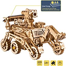Robotime Solar Powered STEM Toys - Taglio Laser Kit Modello di Auto Robot Fai da Te - Puzzle in Legno 3D età 14 Puzzle 3D Adulto (Curiosity Rover)