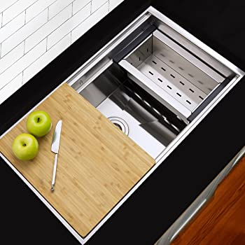 Modern Stainless Steel Kitchen Sink With Colander Cutting Board And Drain Amazon Com