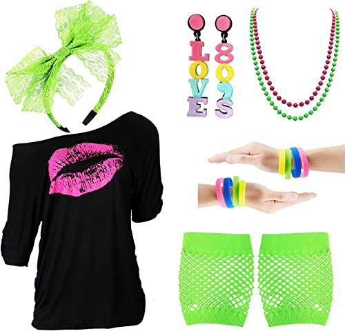 80s Outfits Accessories for Women,Pink Lips Print Off Shoulder T-Shirt for 80s Costumes