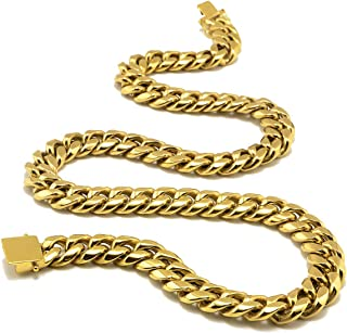 Miami Cuban Link Chain or Bracelet - 24K Real Gold Plated Hip Hop Cuban Link Choker Solid strong clasp Chains Necklace for...