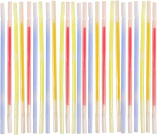 WEMBLEY Glow-in-the-Dark Drinking Straws 25 Pack, Disposable Glow Stick Style Light Up Straws for Cocktails, Parties, New Year's Eve, Raves, Night Events, and More - Multicolored