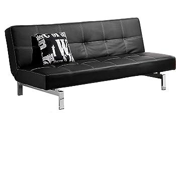 Sof/á cama Reclinable Bagno Italia 180x97x36 en cuero artificial negro 3 puestos con sistema antivuelco