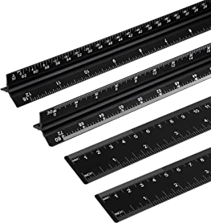 4 Pack Architectural Scale Ruler 12 Inch Aluminum Architect Scale Triangular Scale Laser-Etched Drafting Tool Engineer Scale Ruler for Blueprints, Engineering, Drafting or Architect