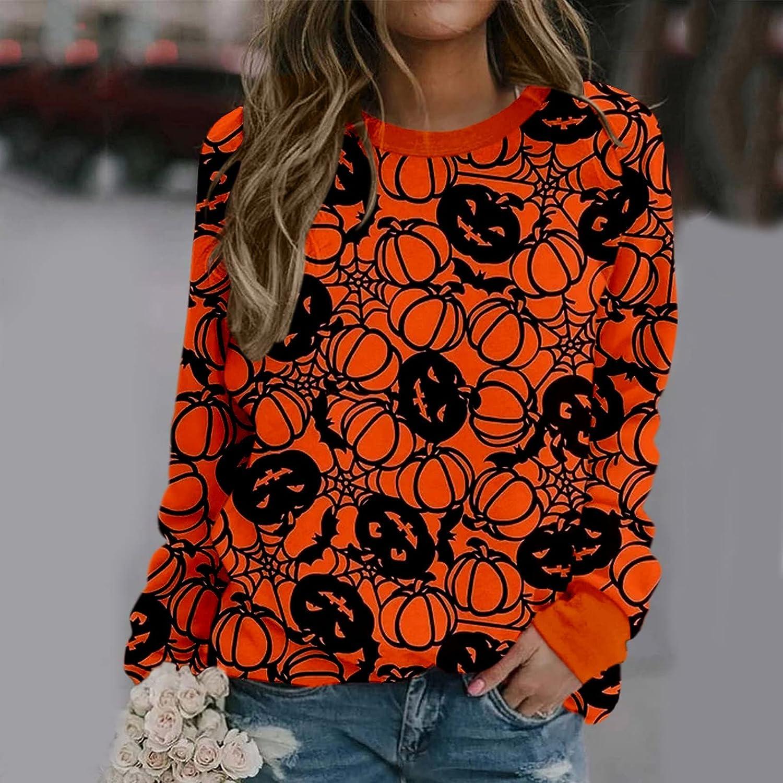 Halloween Shirts for Women,Women Fashion Pumpkin Print Sweatshirts O Neck Oversized Pullover Tops Long Sleeved Sweaters