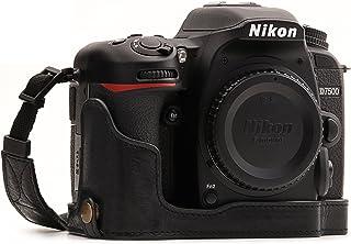 MegaGear Ever Ready Echtleder Kameratasche mit Trageriemen kompatibel mit Nikon D7500