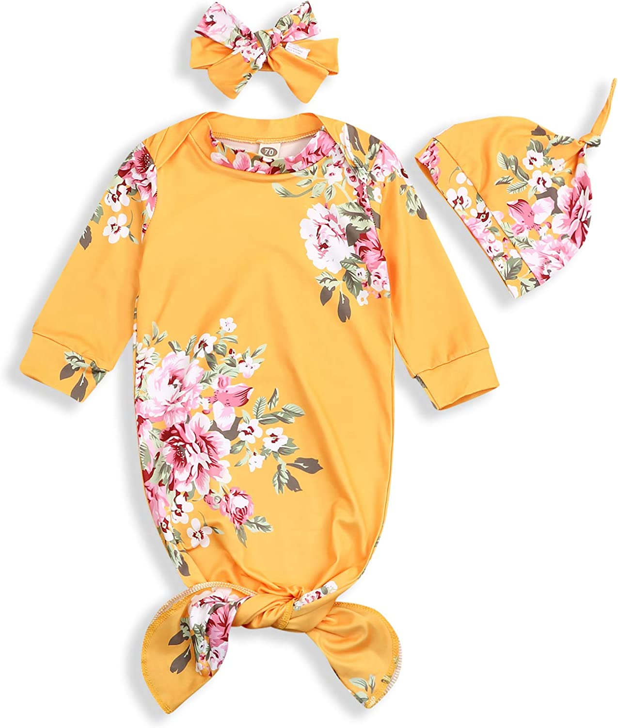 YOUNGER TREE 0-6 Months Newborn Baby Clothes Nightgowns Yellow Floral Swaddle Sleeping Bags Sleepwear Outfits