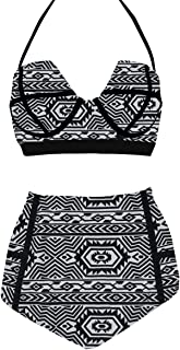 LA PLAGE Women's Colorful High Waist Vintage Push Up Padded Bra Swimwear
