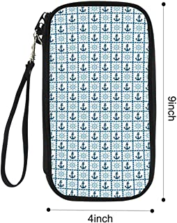 Underwater Portable Passport package,Sea Ship Theme Deck Helm Anchor with Squares Made by Ropes for Airport,9