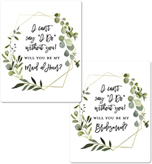 Greenery Bridesmaid Proposal Labels | Will You be My Bridesmaid Wine Labels | Bridesmaid and Maid of Honor Gift Box Labels| I Can't Say I Do Without You Maid of Honor Labels (Black)