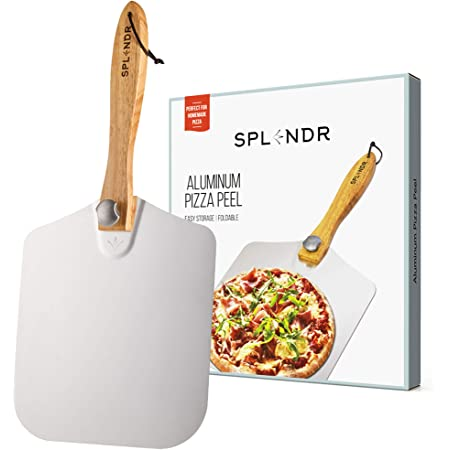 """SPLENDR Aluminum Metal Pizza Peel with Foldable Wood Handle 12"""" x 14"""" Great Gift for Homemade Pizza Enthusiasts. Easy Storage Pizza Paddle for Baking Bread"""