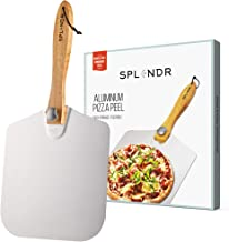 SPLENDR Aluminum Metal Pizza Peel with Foldable Wood Handle 12 Inch x 14 Inch Great Gift for Homemade Pizza Lovers. Easy S...