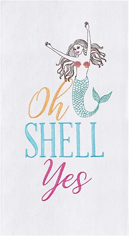 C F Home Shell Yes Cotton Flour Sack Embroidered Kitchen Towel Kitchen Towel