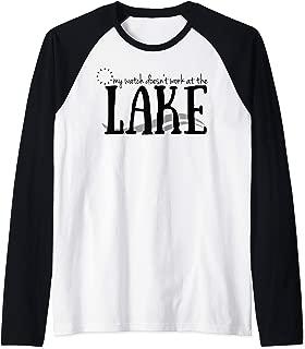 Watch Doesn't Work At The Lake Vacation Summer Relax Raglan Baseball Tee