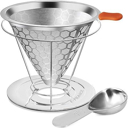 E-PRANCE コーヒードリッパー ステンレス 金属 コーヒー フィルター ペーパー 不要 ステンレス 食洗機対応 1-2杯用 (1-2杯、計量スプーン付き)