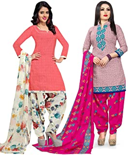 Rajnandini Women's Peach and Pink Cotton Printed Unstitched Salwar Suit Material (Combo Of 2) (Free Size)