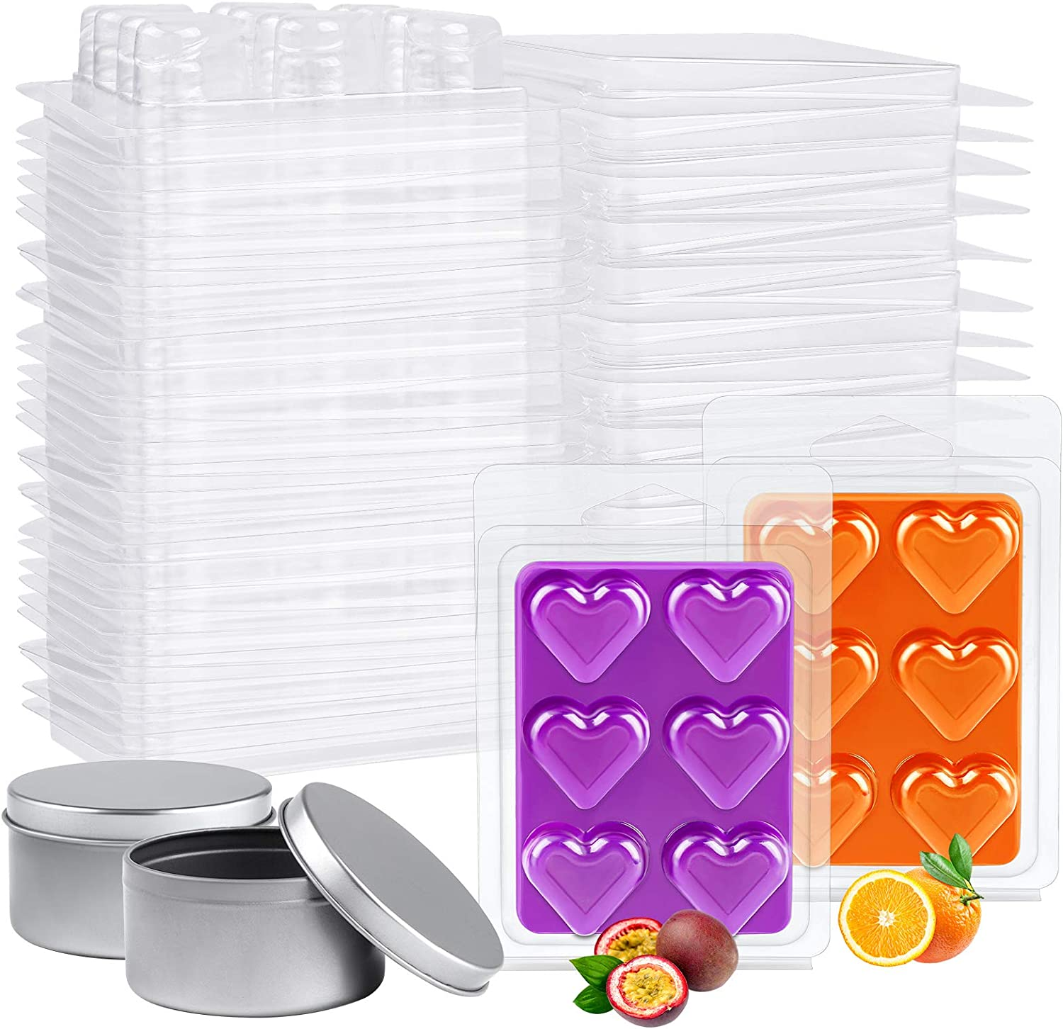 Ruisita 60 Packs Plastic Wax Melt Great interest Mold Candle Sale Special Price with Hear Tins 6 2
