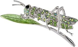 Synthetic Peridot Green Rhinestone Crystal Insect Grasshopper Locust Leaf Big Pin Brooch