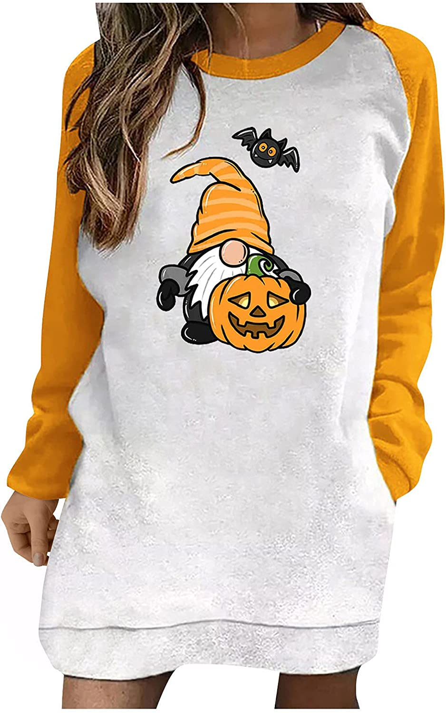Product Women Halloween Long Sleeve New York Mall Tunic Crewneck Pumpkin Tops Graphic
