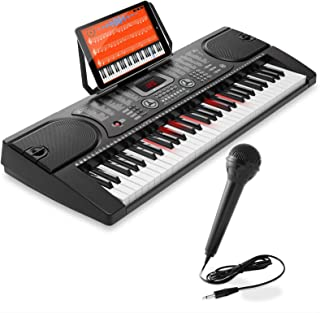 Hamzer 61-Key Electronic Keyboard Portable Digital Music Piano with Lighted Keys, Microphone & Sticker Set