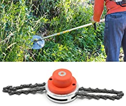 Moshbu Grass Trimmer Head with Chain, 65Mn Universal Coil Garden Lawn Mower Chain Brush Cutter Accessory Weed Eater Head Replacement Part Accessory Outdoor Tools