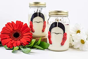 16 (OZ) Fresh Cut Roses Aromatherapy Soy Wax Jar Frida Kahlo Candle Organic Feminist Candle Dried Roses Rose Scented Home Decor Handmade Candle Luxury Scented Romantic Gift Frida Art