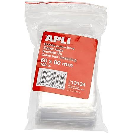 APLI - Confezione di 100 sacchetti di plastica richiudibili 60 x 80 mm