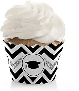 Big Dot of Happiness Silver Tassel Worth The Hassle - Graduation Party Decorations - Party Cupcake Wrappers - Set of 12