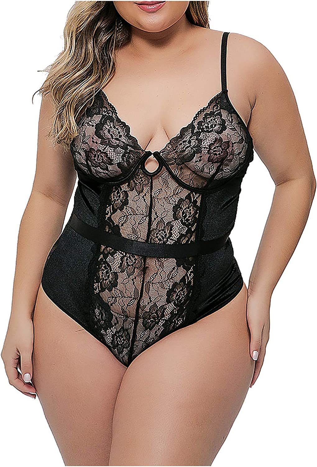 XUETON Womens Plus Size Lingerie Sexy See Through Sheer Mesh Plunging One Piece Babydoll Lace Teddy Bodysuit