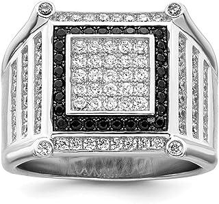 FB Jewels الصلبة الاسترليني الفضة و تشيكوسلوفاكيا مكعب زركونيا الغضور تألق الرجال الدائري الأسود والأبيض