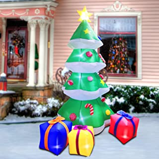 Twinkle Star Christmas Inflatables 7 Feet Xmas Tree with Gift Box Blow Up Indoor Outdoor Home Party Lawn Yard Garden Decor...